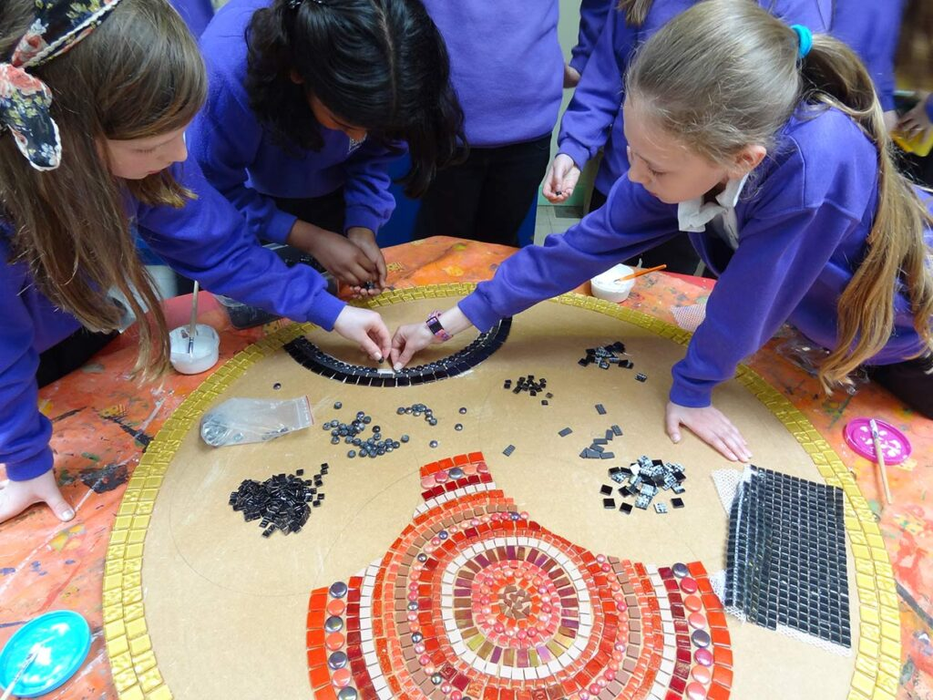Willesley-school-mosaic-in-progress